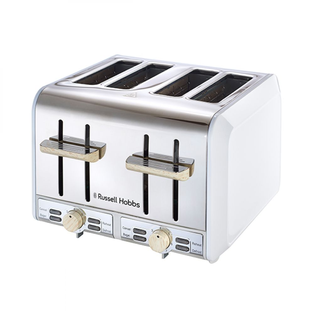 4 SLICE WHITE & WOOD TOASTER